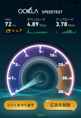 「BIGLOBE LTE・3G」の通信速度計測結果