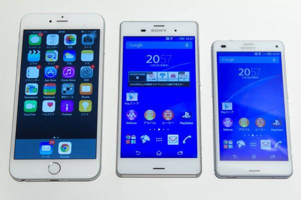 iPhone 6 PlusとXperia Z3、Xperia Z3 Compactの大きさの違い