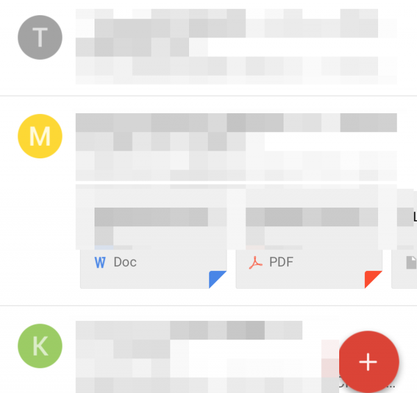 各メールには送信者のアイコンが表示される。登録している人だと画像が表示され、未登録の人はメールアドレスの1文字目が表示される模様
