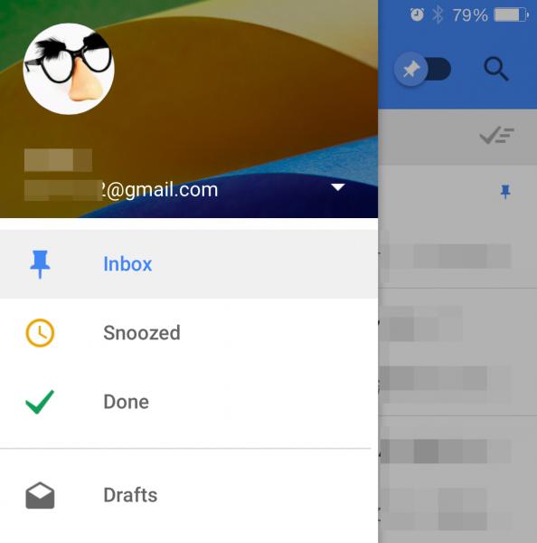 左上のアイコンからメニューを開き、「Inbox」と「Done」、「Snooze」のフォルダーに切り替えられる