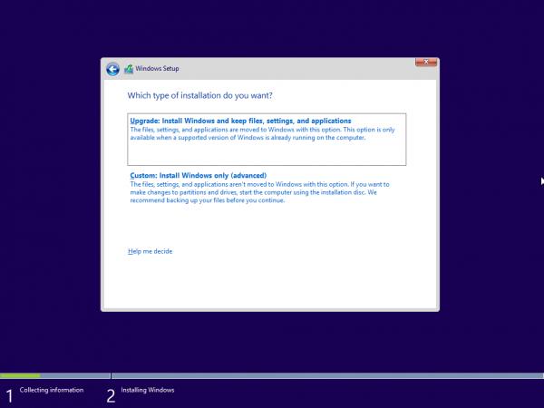 今回は新規インストールなので、下の「Custom: Install Windows only(advanced)」をクリック