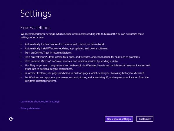 今回はお試しなので、簡易設定の「Use express settings」をクリック