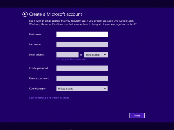 「Sign in witout a Microsoft account」をクリック
