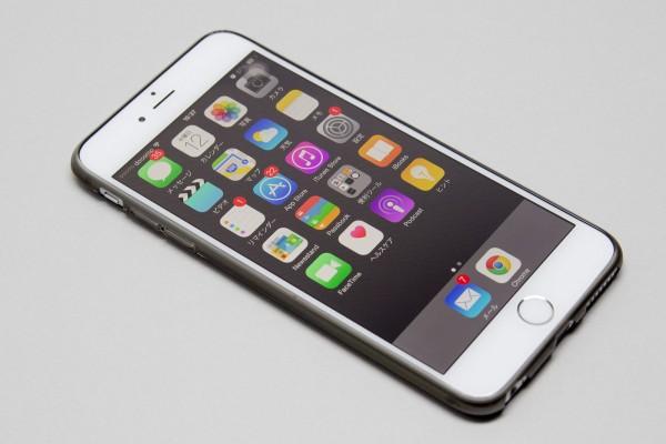 シルバーのiPhone 6 Plusとスペースグレーのケースを組み合わせた状態。これはこれでアリ