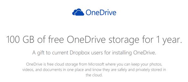 DropboxユーザーにOneDriveの容量100GB無料追加のキャンペーン実施中