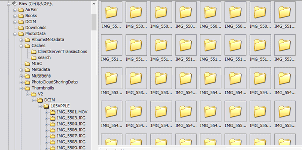「RAWシステムファイル」の「PhotoData」→「Thumnails」→「V2」→「DCIM」→「◯◯◯APPLE」内のフォルダー/ファイルを削除