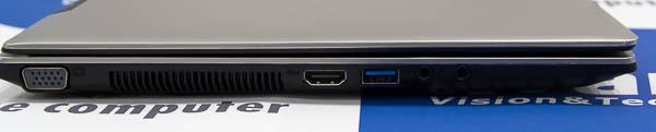 本体右側面にはアナログRGB端子、HDMI端子、USB3.0端子を用意