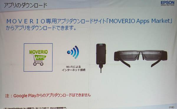 アプリはWi-Fi経由で専用アプリダウンロードサイト「MOVERIO Apps Market」からダウンロードする