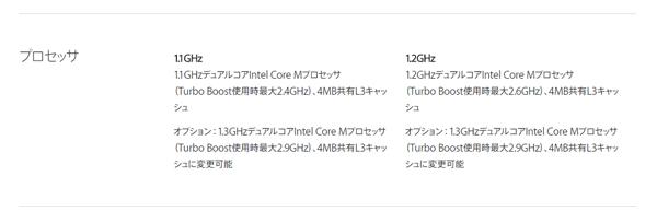 MacBookに搭載されるCPU