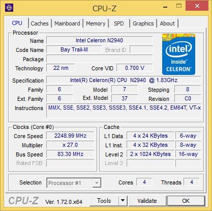 「CPU-Z」によるCPUの詳細情報