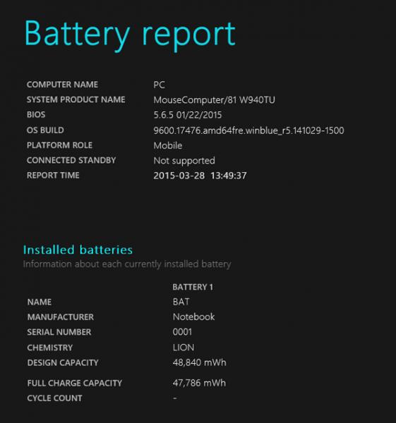 試用機のバッテリーレポート。設計時のバッテリー容量は48840mWhとそこそこあり、さらにCPUの高い省電力性能によって