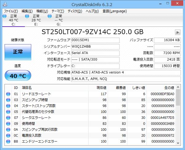 ハードディスクの状態を調べられる「CrystalDiskInfo」