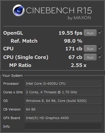 「CINEBENCH」を使ったテストでは、OpneGLのテスト結果は「19.55fps」でした