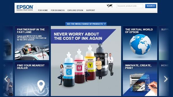 エプソンの欧州向けWebサイト ※クリックでページが開きます