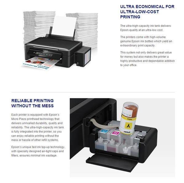 大量の文書を印刷できる上に、インクがなくなったら自分で補充できる