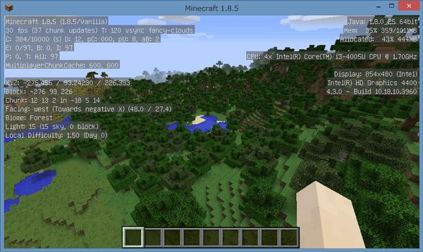 広い範囲を見渡しても、30~40FPSをキープできています