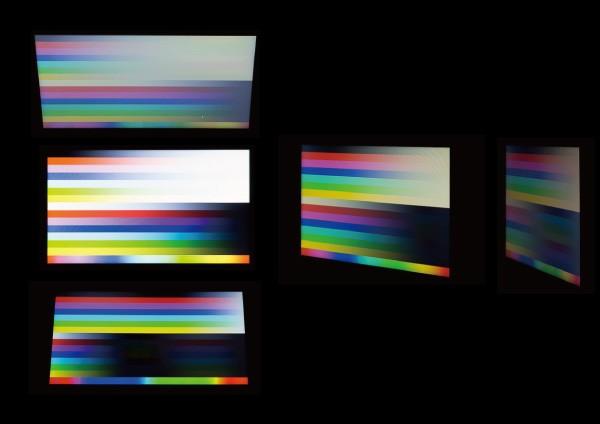 液晶ディスプレイを真正面、上下、右側から見たときの映像。
