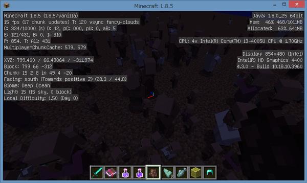 画面が暗くてちょっとわかりすらいですが、村人が大量にいる状態でのFPSは15前後でした