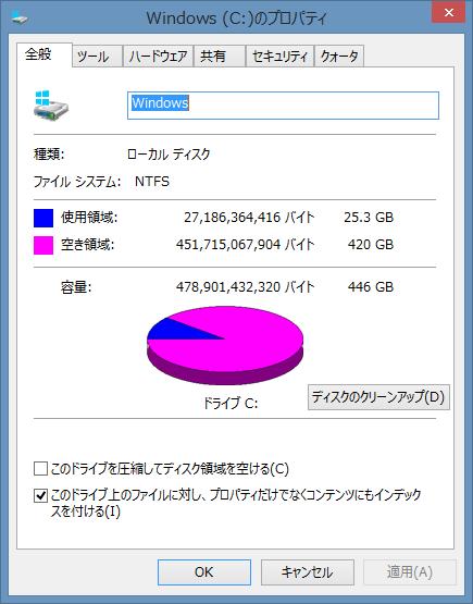 Cドライブの空き容量は420GB