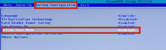 カーソルキーの「→」を2回押して「System Configuration」に合わせ、さらに「↓」キーを4回押して「Action Keys Mode」に合わせる ※キーを押す回数は機種によって変わる場合があります