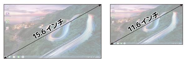 15.6型と11.6型の画面サイズの違い