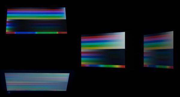 液晶ディスプレイを上下と横から見たときの映像の違い ※違いをわかりやすくするため複数の写真を合成しています