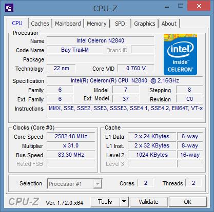 「CPU-Z」によるCeleron N2840の詳細情報
