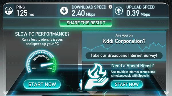 ノーリミットモードに切り替えることで通信速度は回復しましたが、2.4Mbps程度でした