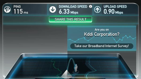 ほぼ同時刻に同じテストを行なったところ、6.33MbpsとNAD11よりも速い結果となりました