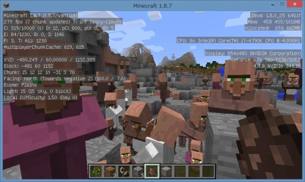爆発後の入り組んだ地形に大量の村人を配置しても、FPSが落ちる気配がありません