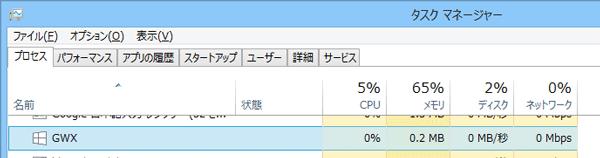 同じアイコンの「GWX」というプログラムが動作しています