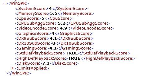 試用機のWindowsシステム評価ツールの結果