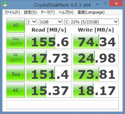 「CrystalDiskMark 4.0.3」ベンチマーク結果