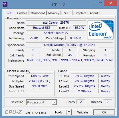 「CPU-Z」による詳細情報。Haswell世代の省電力CPUである「Uシリーズ」