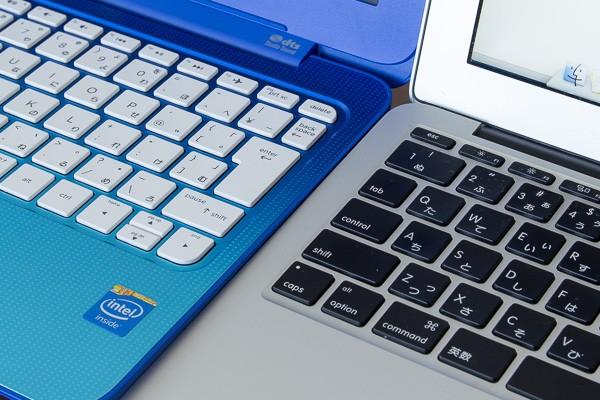 キーピッチはMacBook Air 11インチモデルのほうが0.3mm大きいのですが、タイプ感はHP Stream 11のほうが良好でした