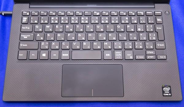 New XPS 13 Graphic Proのキーボード。キーピッチは幅19mmで縦18mm