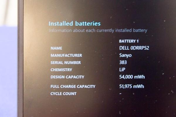 バッテリーレポートでは設計上の(バッテリー)容量が54,000mWhとありました。標準的なノートパソコンは36,000mWh程度ですので、1.5倍はあります