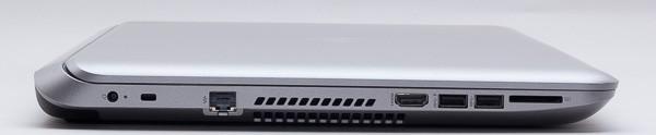 本体右側面には、左から電源コネクターと有線LAN端子、HDMI端子、USB3.0×2、SD/SDHC/SDXC対応メモリーカードスロットが用意されています