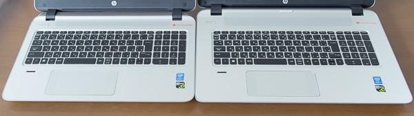 15.6型(左)と17.3型(右)のキーボード。サイズがまったく同じで、共通の部品を使っているものと思われます