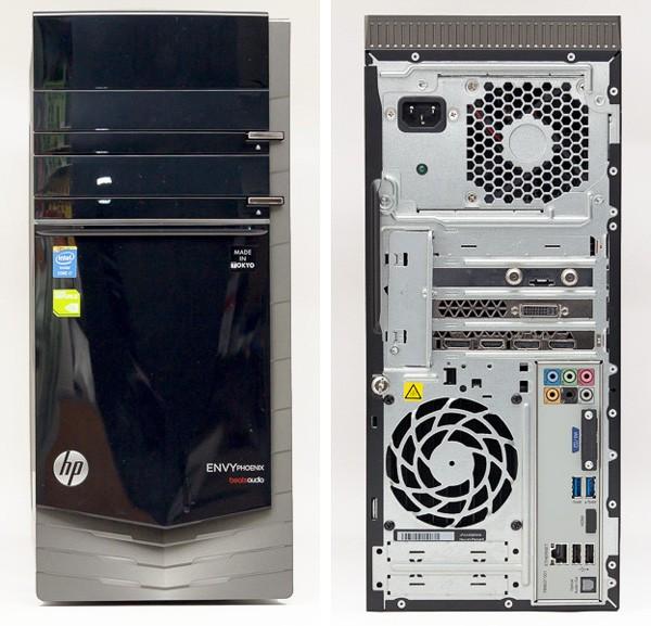 「HP ENVY Phoenix 810-480jp/CT」のフロントパネルとバックパネル。背面には映像出力端子のほか、USB3.0×2、USB2.0×2、有線LAN端子、オーディオ端子類が用意されています ※写真ではTVチューナーボードが搭載されていますが、現在このオプションは利用できません