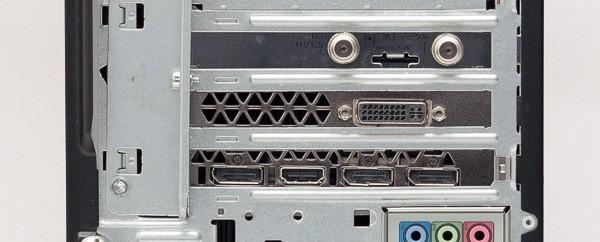 GeForce GTX 980を搭載した試用機では、映像出力用にDVI-I端子、HDMI端子、DisplayPort端子×3が用意されています