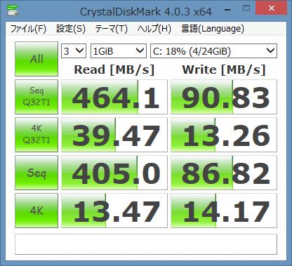 「CrystalDiskMark」によるストレージのアクセス速度計測結果