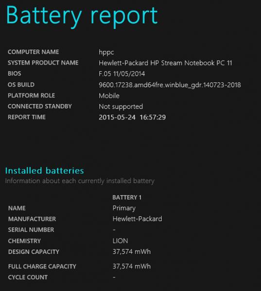 試用機のバッテリーレポート。設計上のバッテリー容量は39,842mWhと標準的な容量です
