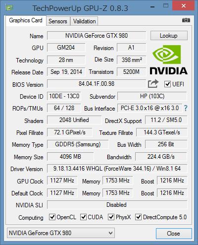 「GPU-Z」によるGeForce GTX 980の詳細情報