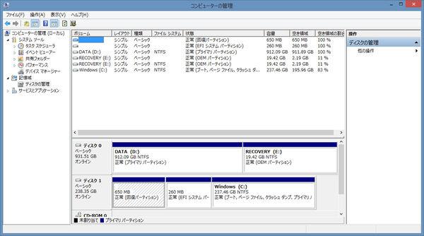 Cドライブには237.46GB、Dドライブに