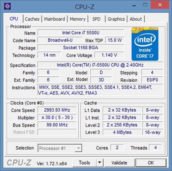 「CPU-Z」によるCPUの詳細情報。Broadwell-UシリーズのCore i7-5500Uが使われていました
