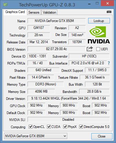「GPU-Z」による外付けGPUの詳細情報。試用機ではGeForce GTX 850Mが搭載されていました