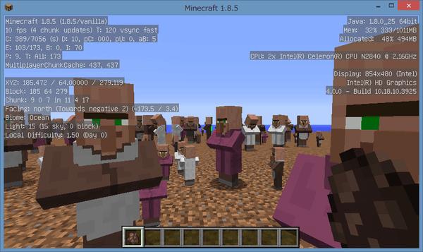 村人が50人以上になると、FPSがかなり落ちてしまいます