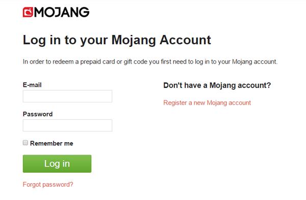 ブラウザーでMOJANG.comにアクセスし、ゲームのログイン時に使うメールアドレスとパスワードを入力。「Login in」をクリック