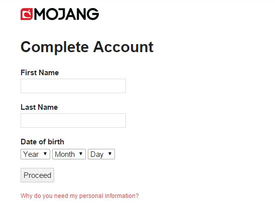 個人情報を登録していない場合は、ここで登録します。「First Name」に名前を、「Last Name」には苗字を入力してください。誕生日を入力(西暦、月、日の順)したあと、「Proceed」をクリックします